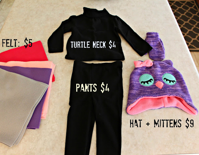 Turtle neck, pants, hat, mittens and felt laid out for the owl costume.
