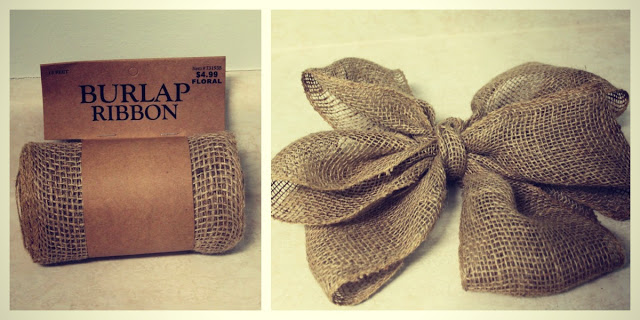 A roll of burlap and then the burlap tied into a bow.