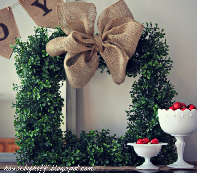 DIY Square Boxwood Wreath with Burlap Bow