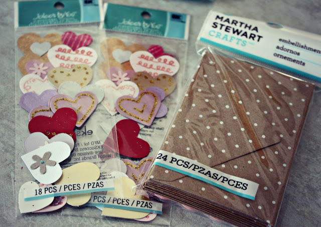 Martha Stewart package of envelopes and paper hearts.