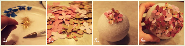 Styrofoam balls, pins and the paper flowers tutorial.