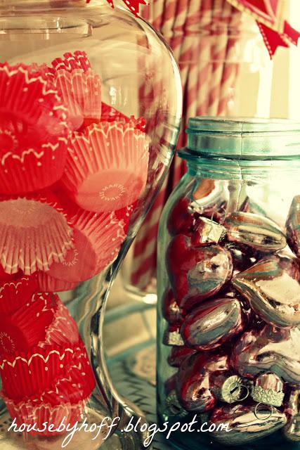 Love heart ornaments in a clear mason jar.