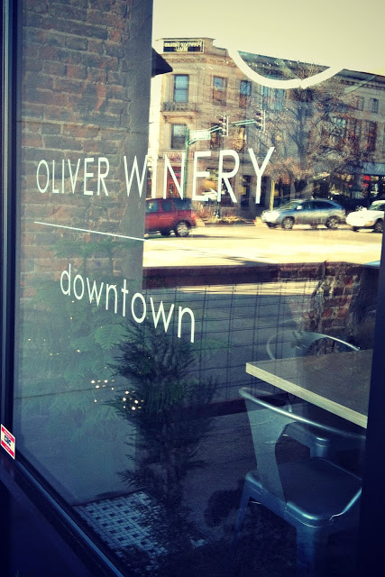 Oliver Winery Downton on the storefront window.