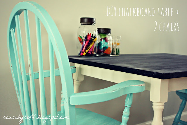 DIY Chalkboard Table + 2 Shabby Chairs