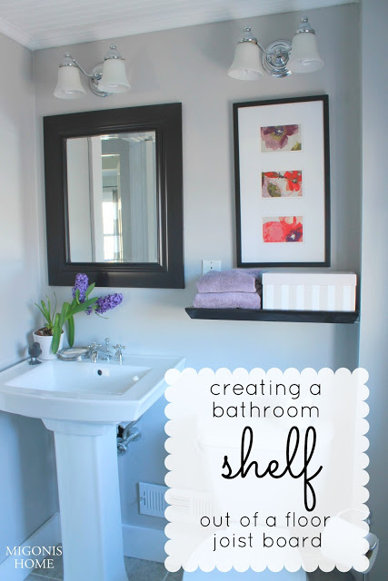 Creating a bathroom shelf poster.