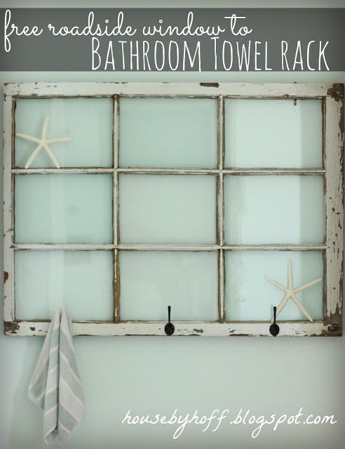 repurposed window bathroom towelrack via housebyhoff.com