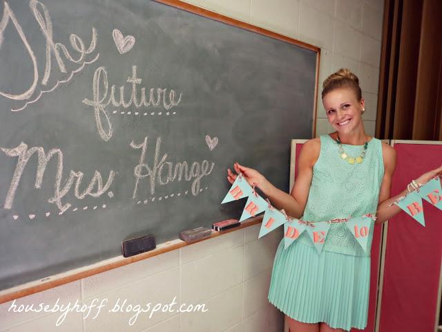 Chalkboard with the future Mrs. written on it.