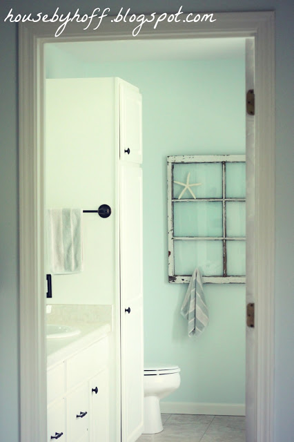 repurposed window bathroom towel rack via housebyhoff.com