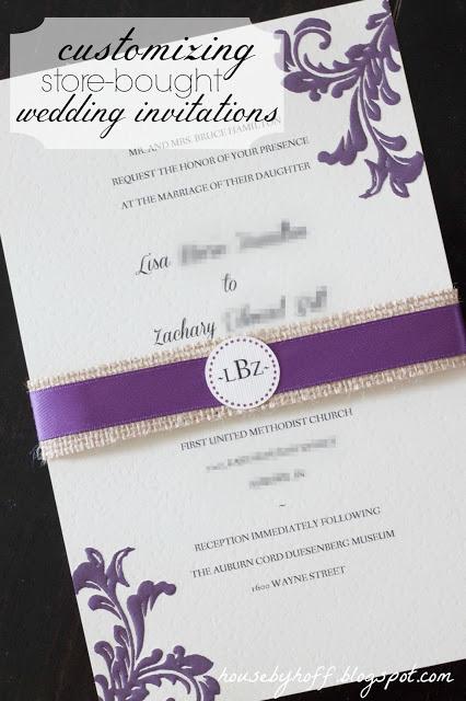 Purple and white wedding invitations.