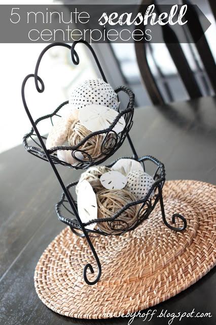 Seashells in a wire basket.