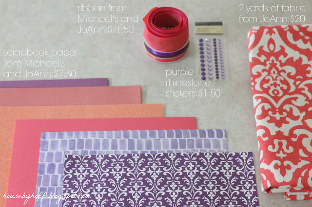 Colourful patterned paper and ribbon.