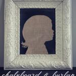 Chalkboard & Burlap Silhouette Art