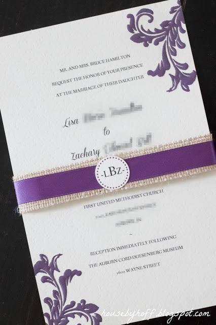 The burlap and purple ribbon around the invitation.