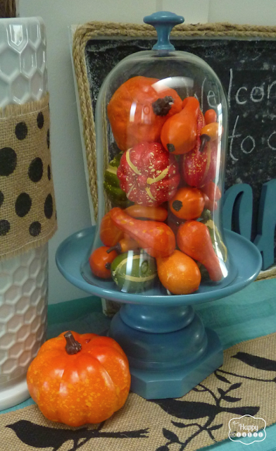 Cloche filled with gourds on table.