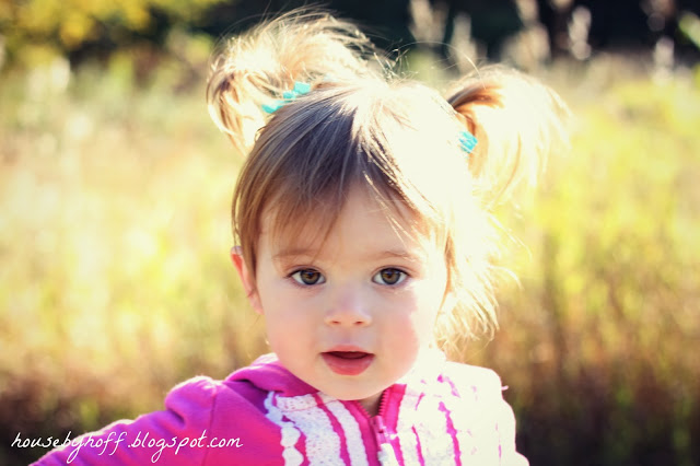 Little girl with pigtails in a pink jacket.