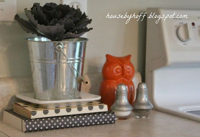 An orange owl and steel bucket with black foliage o the kitchen counter.
