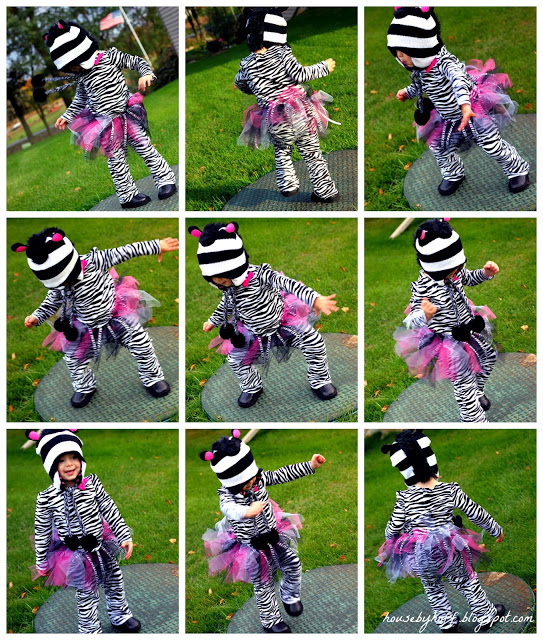 Nine shots of the dancing girl in her zebra costume.