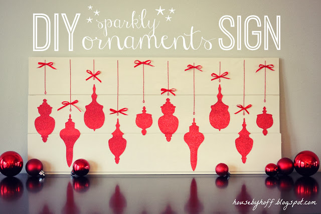 DIY sparkly ornaments sign poster.
