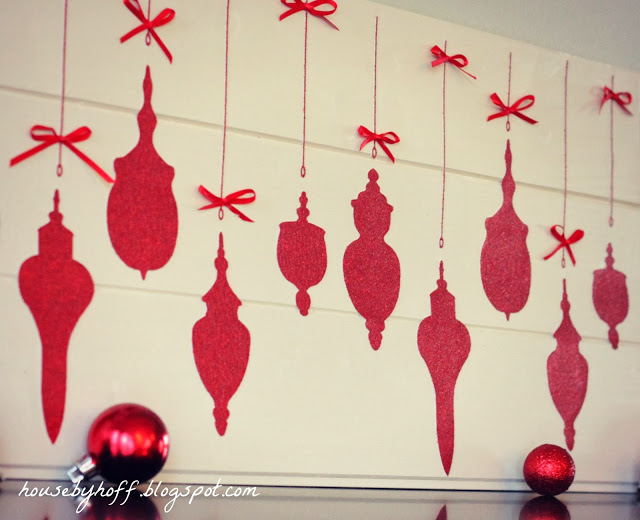 Red ornaments lying in front of the ornaments sign.