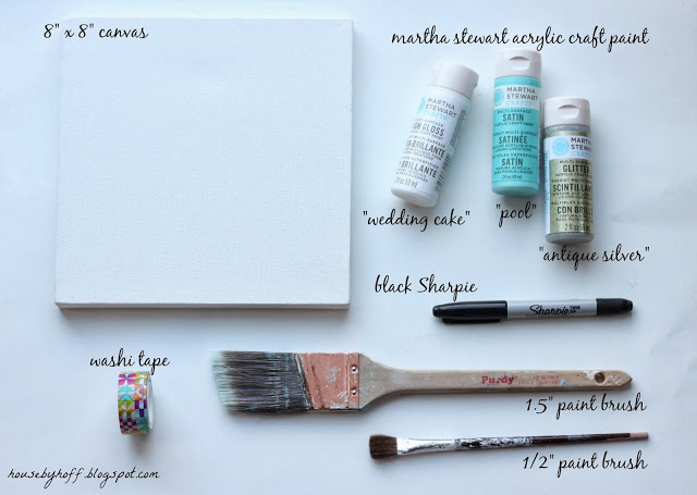 Martha Stewart paint, paint brushes, canvas, sharpie and washi tape on the counter.