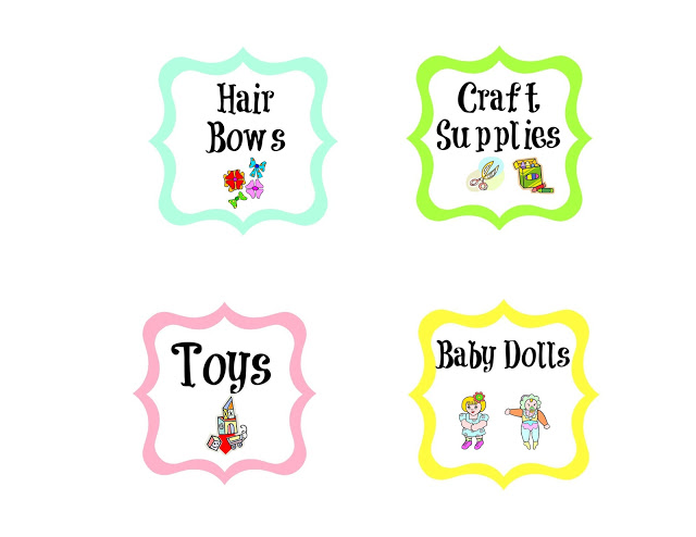 Labels hair bows, craft supplies, toys, baby dolls.