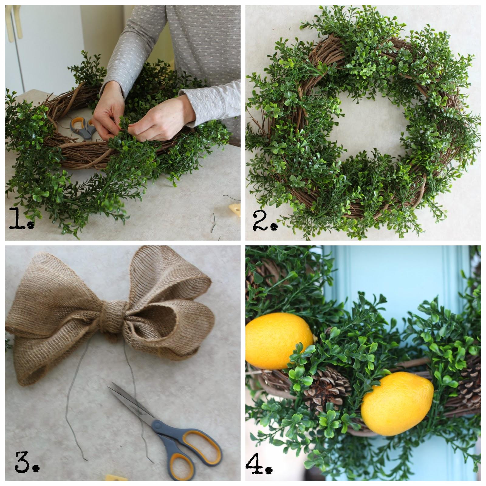 A twine wreath, greenery, scissors, a bow and lemons on the wreath.