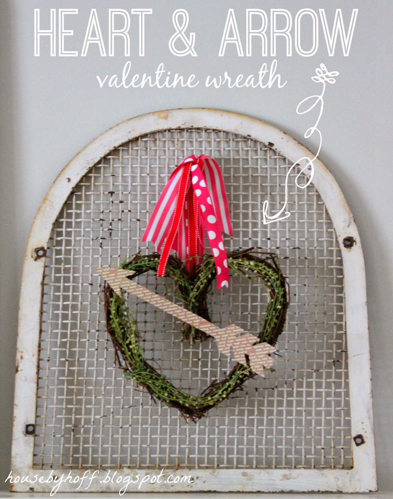 Heart & arrow Valentine wreath graphic.