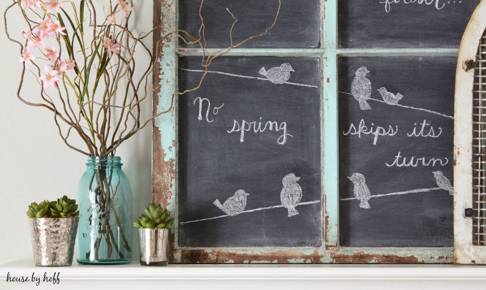 Spring Mantel via housebyhoff.com