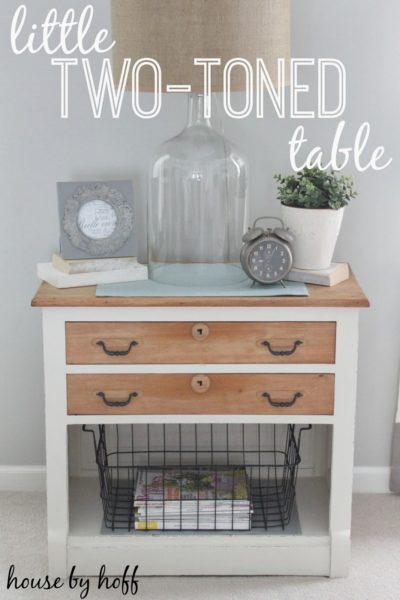 two-toned table makeover via housebyhoff.com