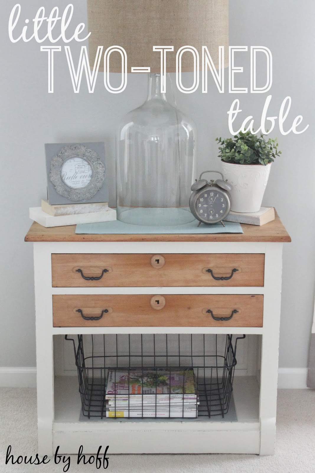 two-toned table makeover via housebyhoff.com