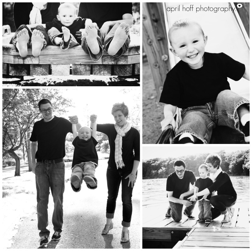 Black and white photos of parents and children playing.
