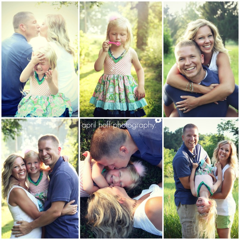 Outdoor pictures of a couple and their daughter.