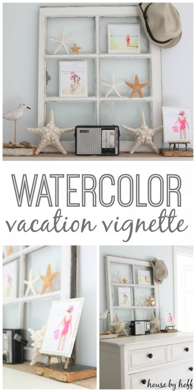 watercolor vacation vignette
