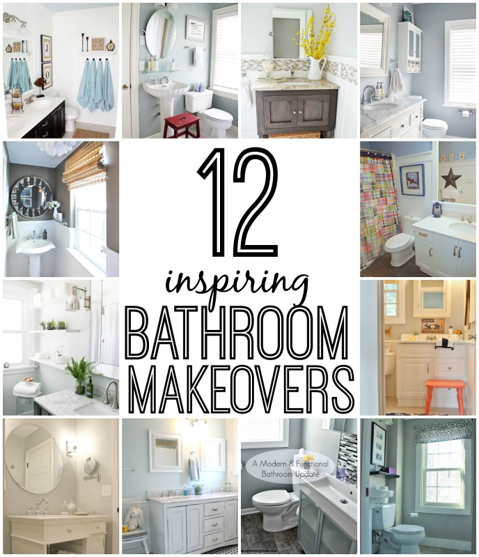 A collage of the 12 bathroom makeovers.