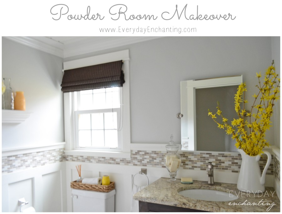 Bathroom with neutral colors and yellow flowers on counter.