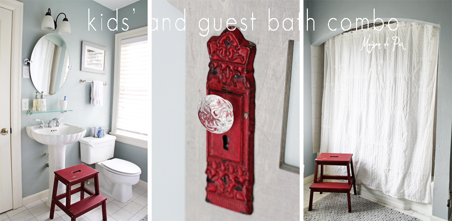 All white bathroom with pops of red color, the stool and the door knob.