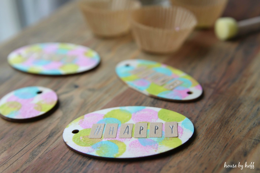 Pink, yellow, and blue gift tags.