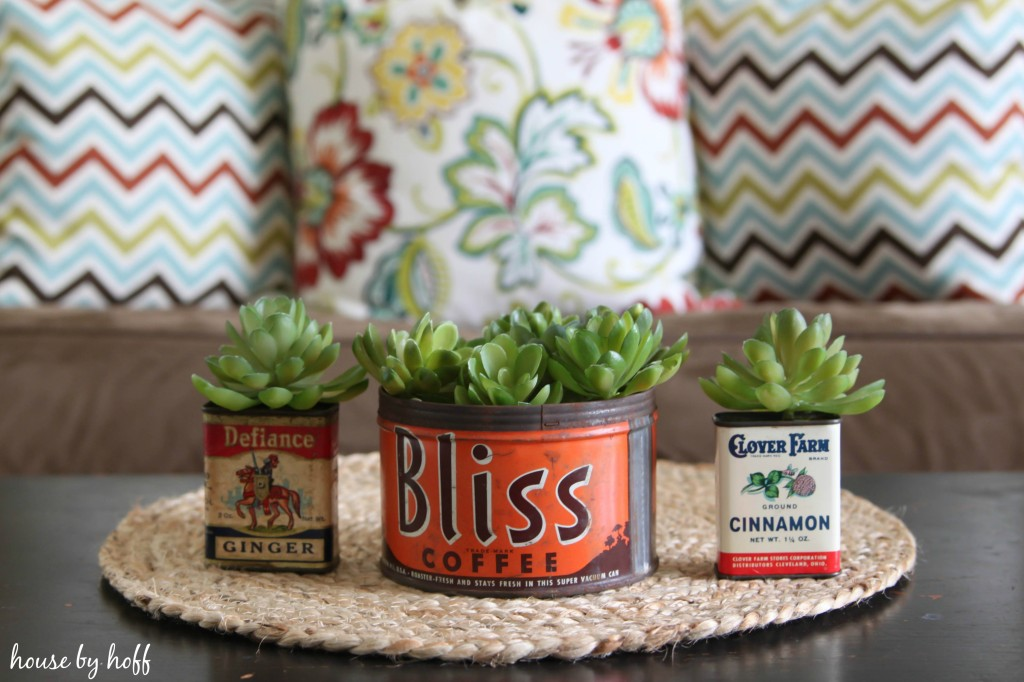 3 vintage containers with succulents growing out of them.