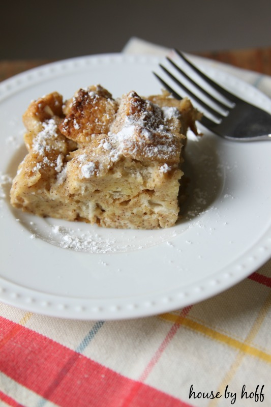 Fork and French toast casserole on a plate.
