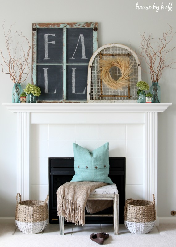 inexpensive fall mantel 2