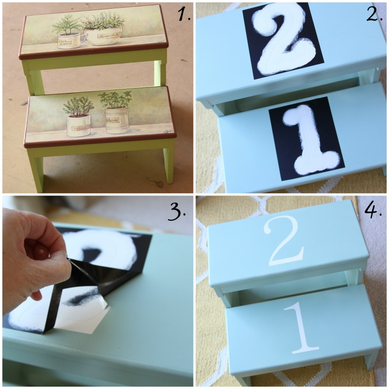 step stool makeover collage