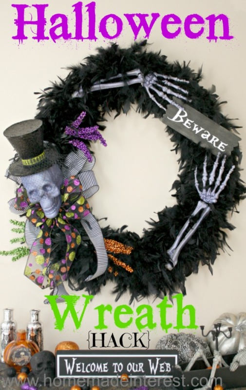 Black Halloween wreath with a skull and bones.
