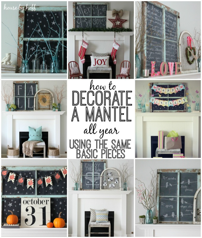 How to decorate a mantel all year using the same basic for How to decorate