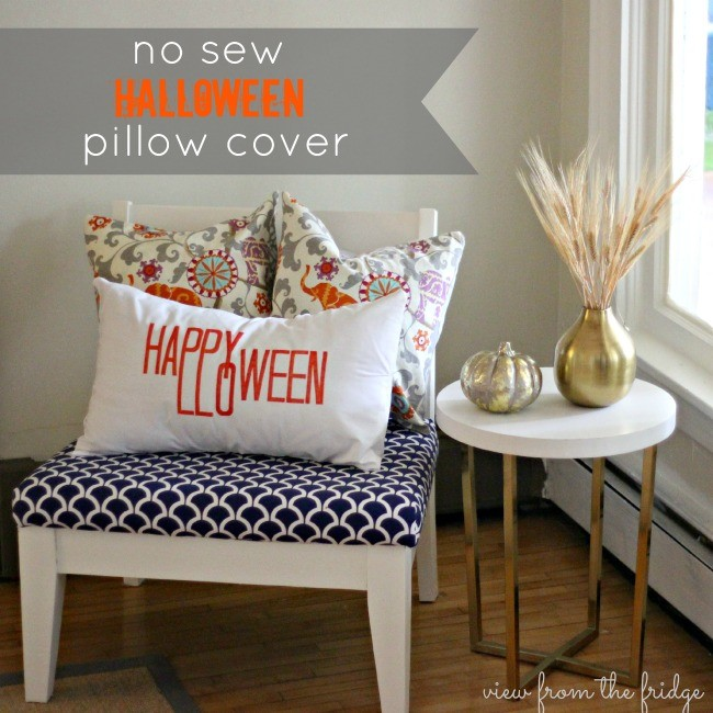 No sew Halloween white pillow cover on chair.
