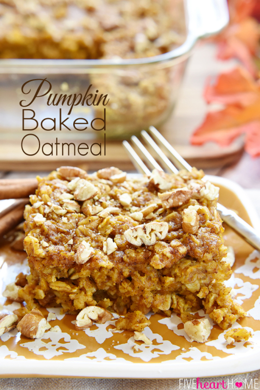 Pumpkin baked oatmeal on a plate with a fork.