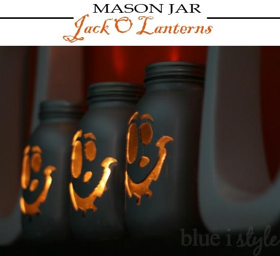 blue i style - MasonJarJackOLanterns