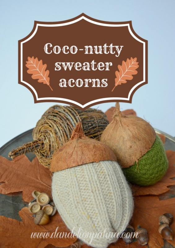 Hand made sweater acorns.