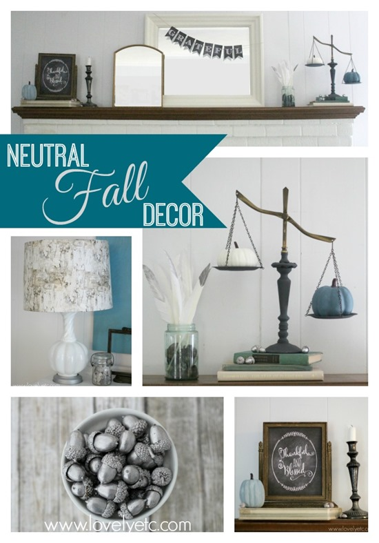 White silver and blue fall decor.