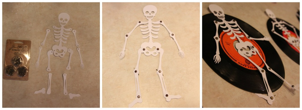 Laying out the skeletons on the floor with the vintage records.