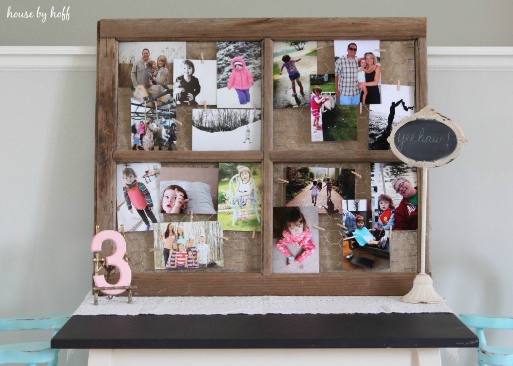 Family collage in wooden frame.